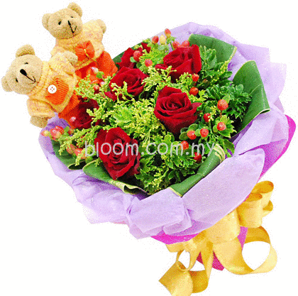 Bear With Flowers Bouquet 03