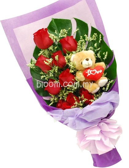 Bear With Flowers Bouquet 01