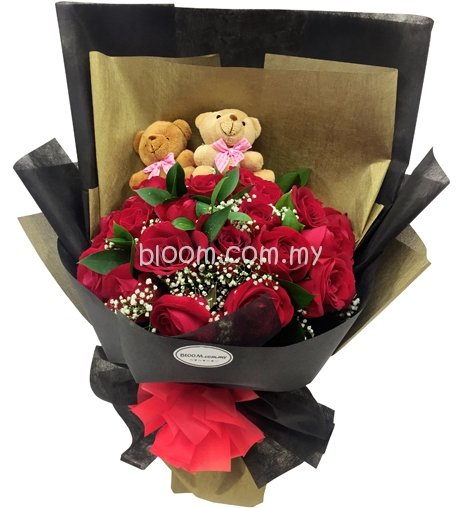Bear With Flowers Bouquet 09
