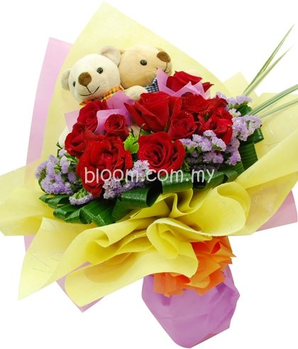 Bear With Flowers Bouquet 13