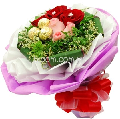Flowers With Ferrero Rocher Hand Bouquet 05