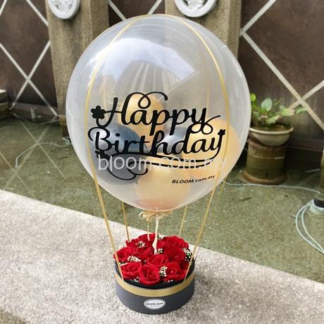 Birthday Surprise Hot Air Balloon Flower Box